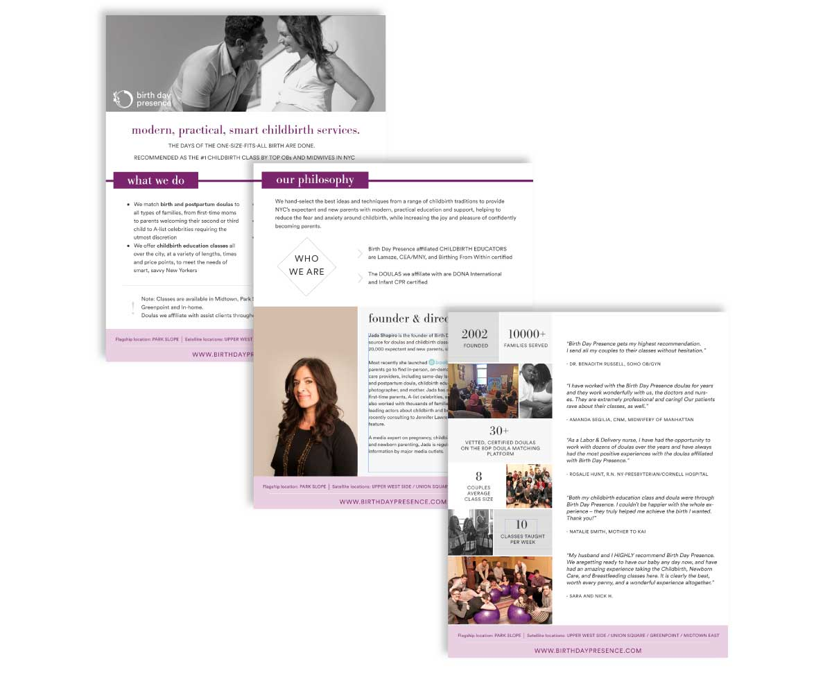 Web design pages from Birth Day Presence