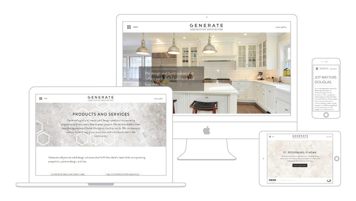 Multi platform web design for Web design page for Generate FL