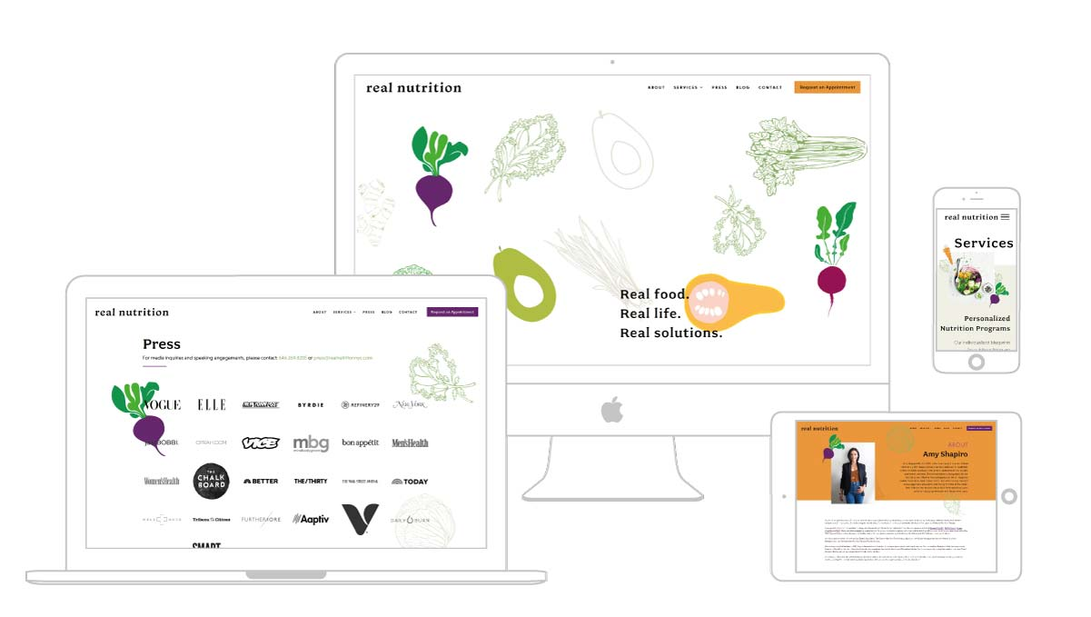Multi platform web design showcase for Real Nutrition NYC