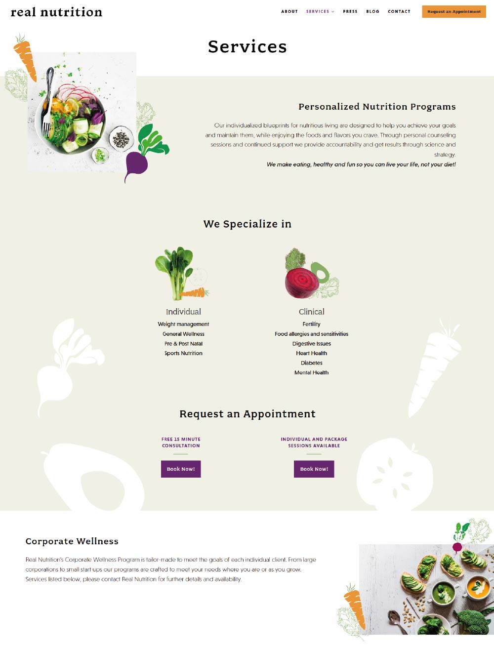 Web design page from Real Nutrition NYC