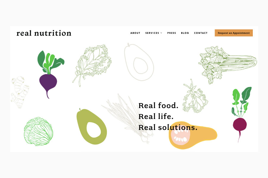 Corporate Branding Real Nutrition NYC homepage mock up