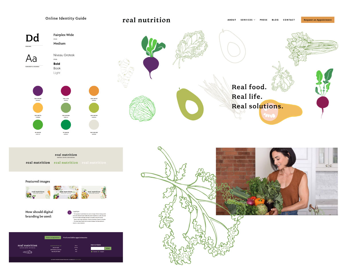 Web design, branding, and graphics showcase for Real Nutrition NYC