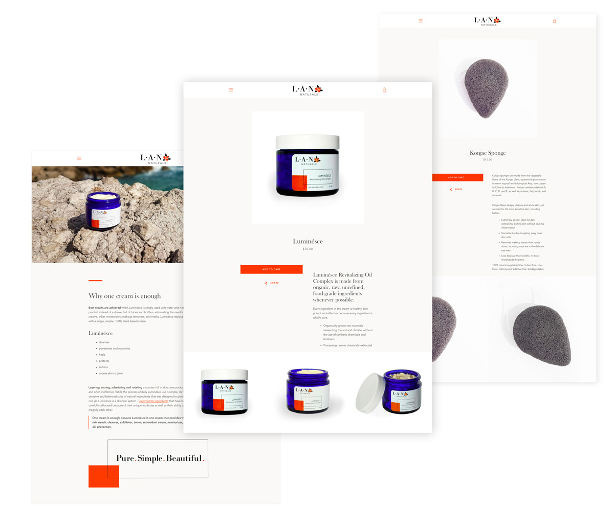 Website design for LAN Naturals