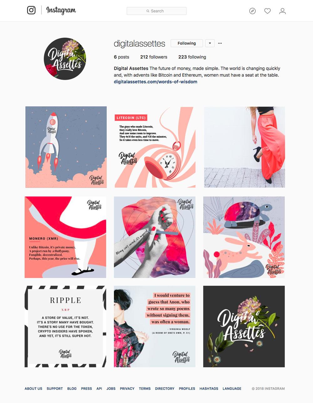Website design page from Digital Assettes