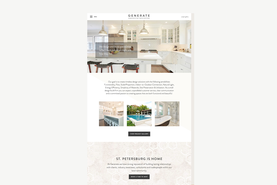 Web design page for Generate FL