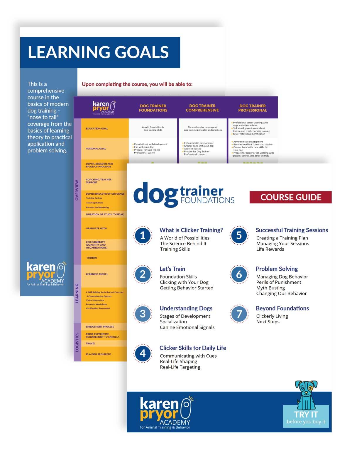 Web design pages for Karen Pryor Academy
