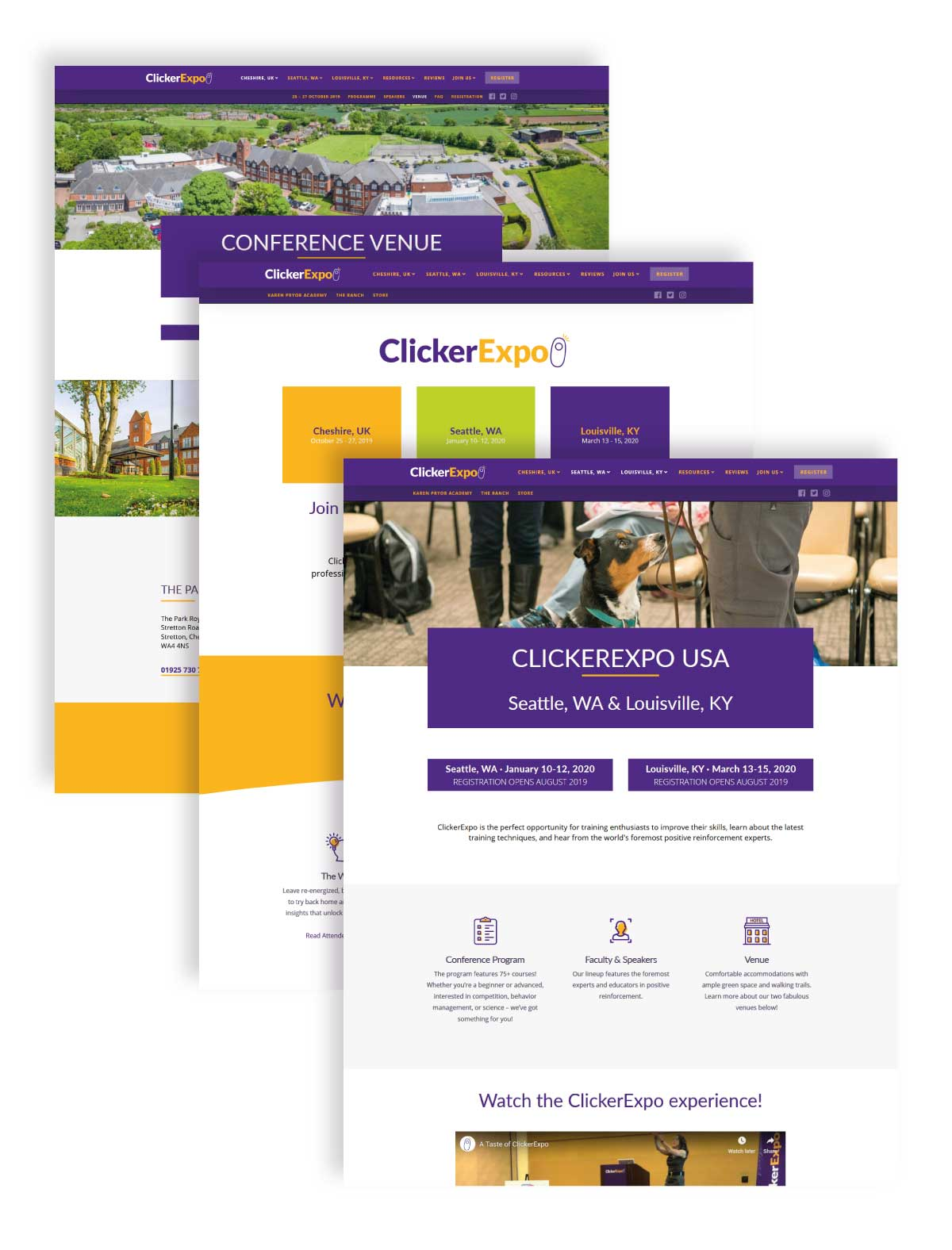 Web design pages for Clicker Expo