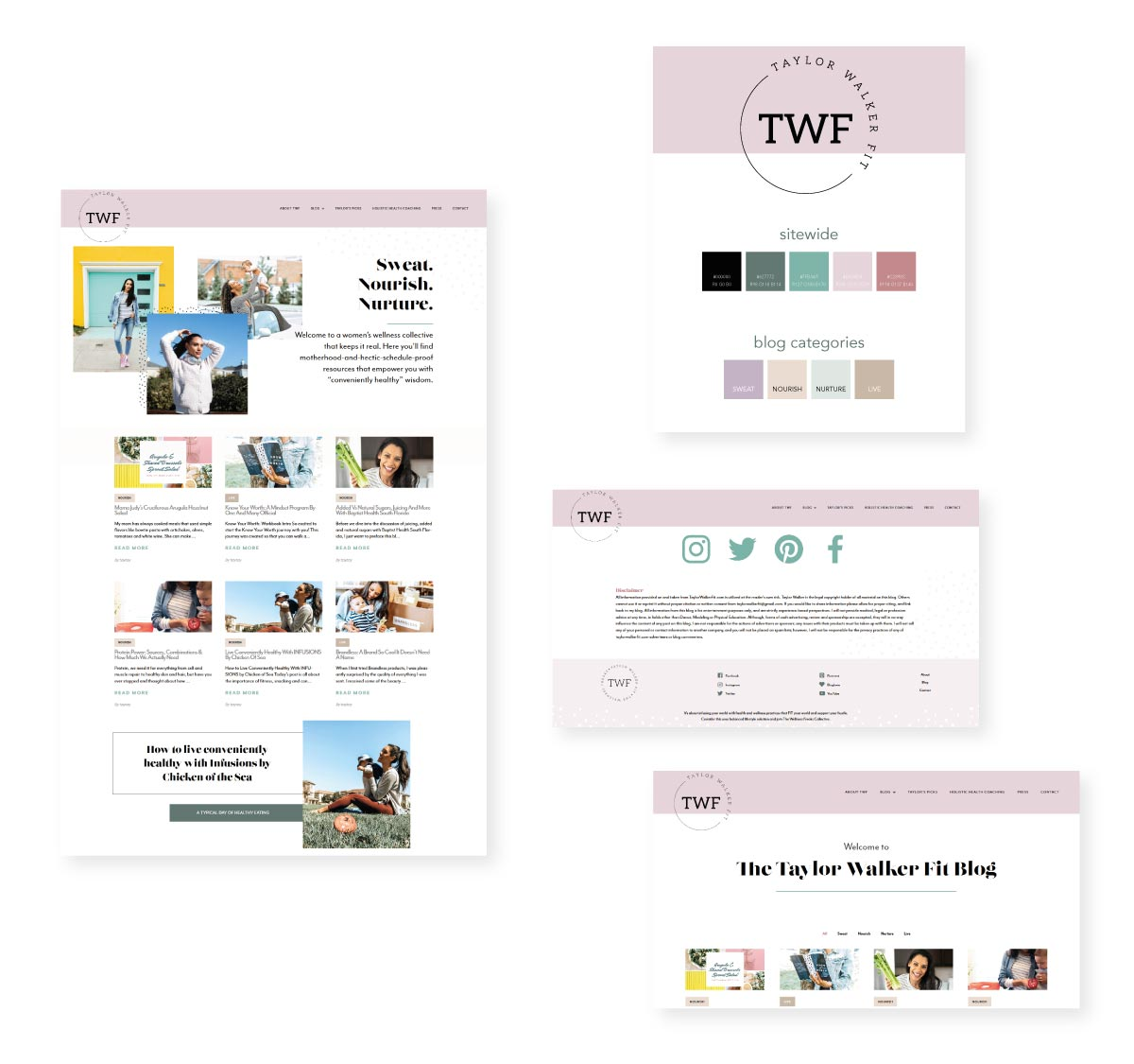 Web design showcase for Taylor Walker Fit