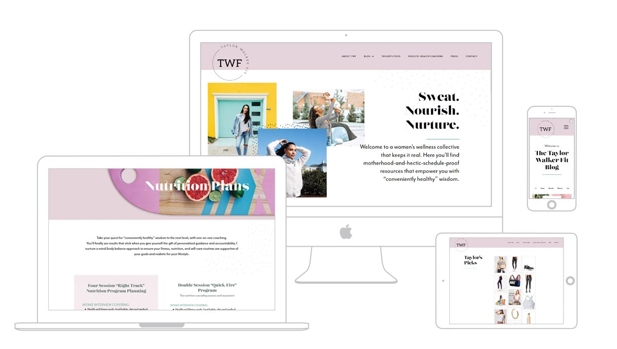 Multi platform web design showcase for Taylor Walker Fit