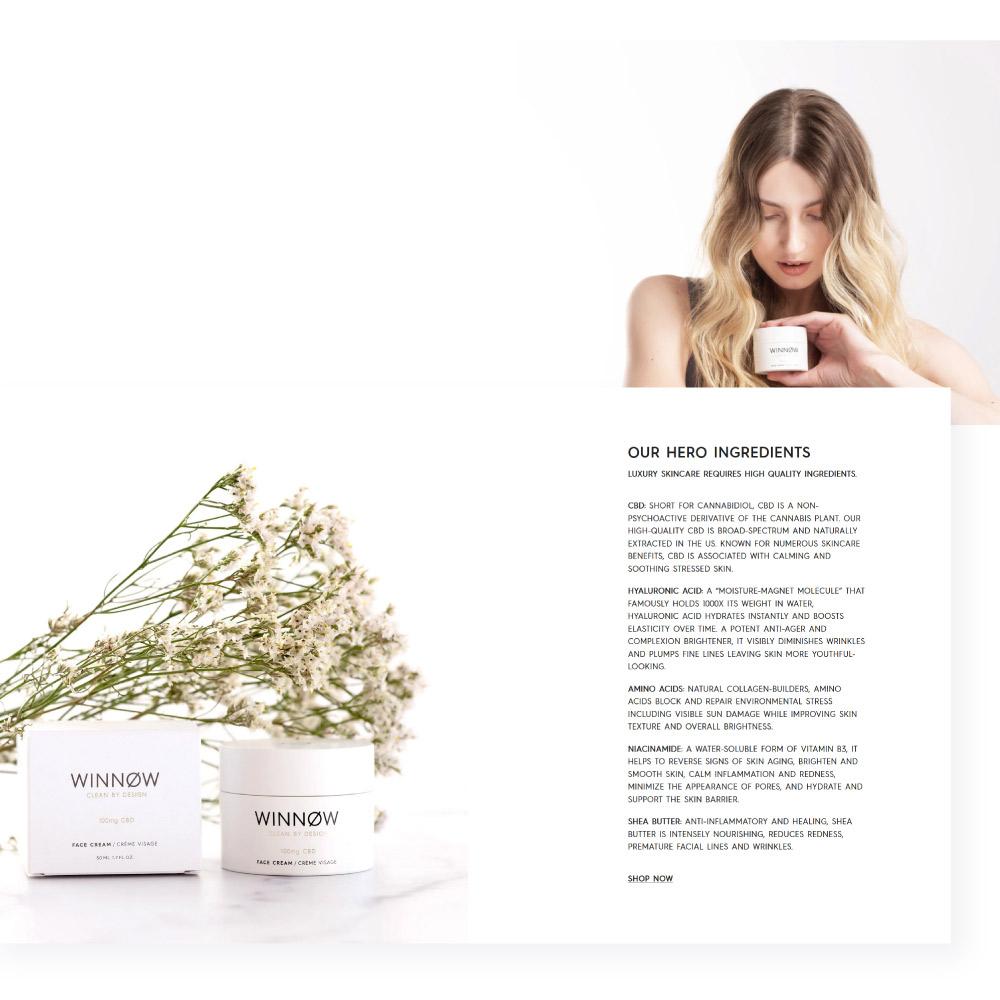 Winnow CBD face cream Shopify website design