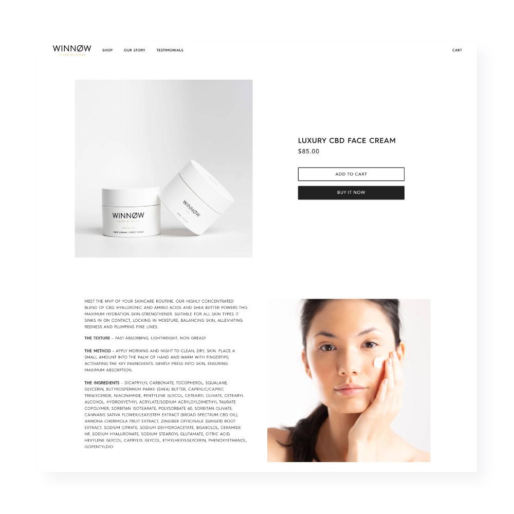 Winnow CBD face cream Shopify website mockup